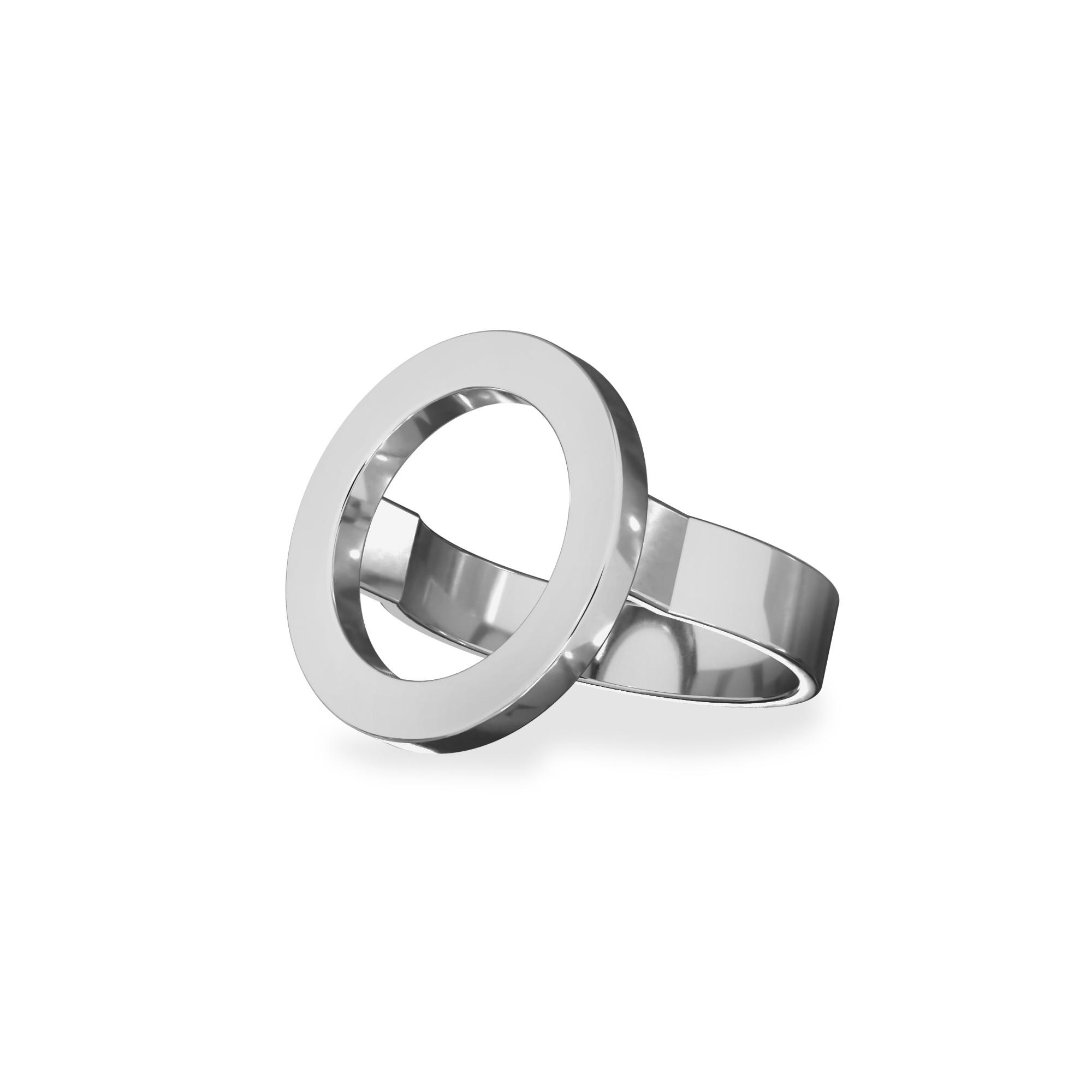 Pierścionek figura geometryczna koło, srebro 925