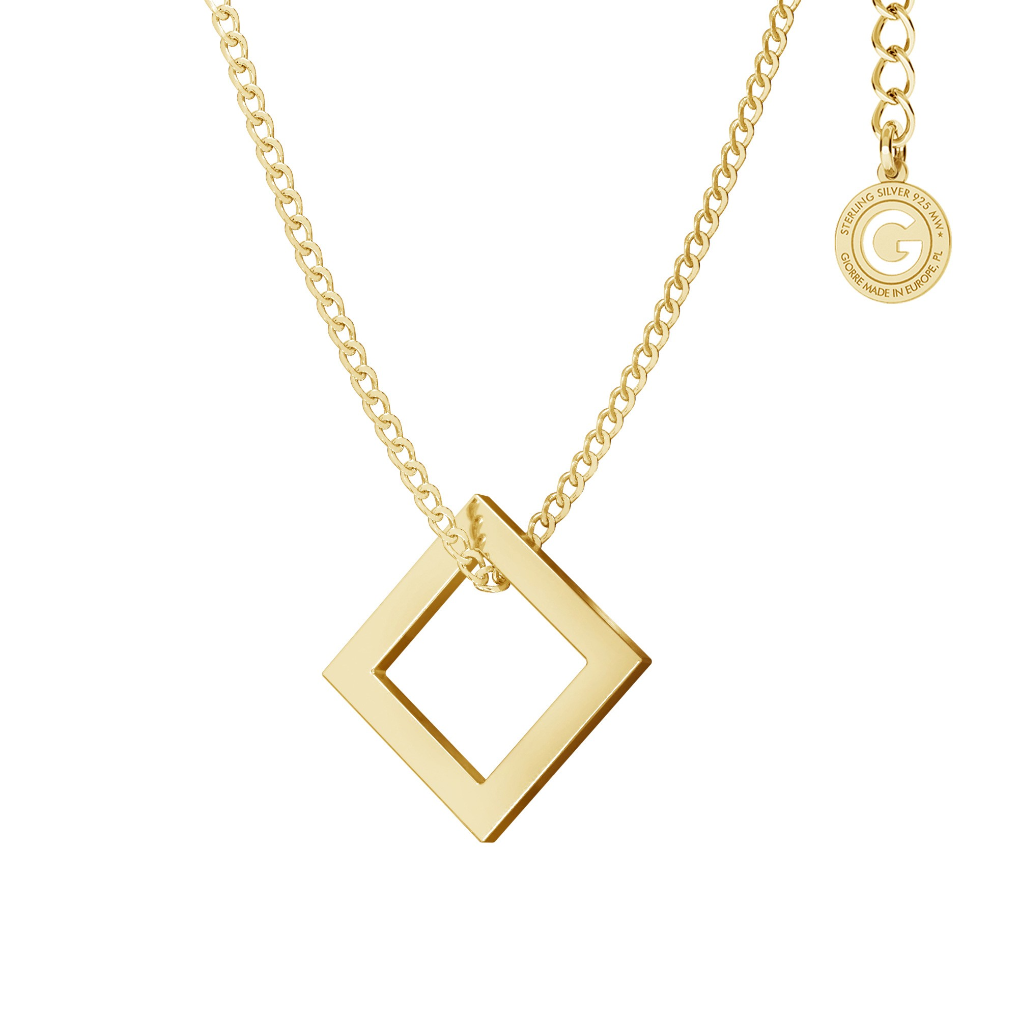 Geometric necklace triangle pendant, sterling silver 925