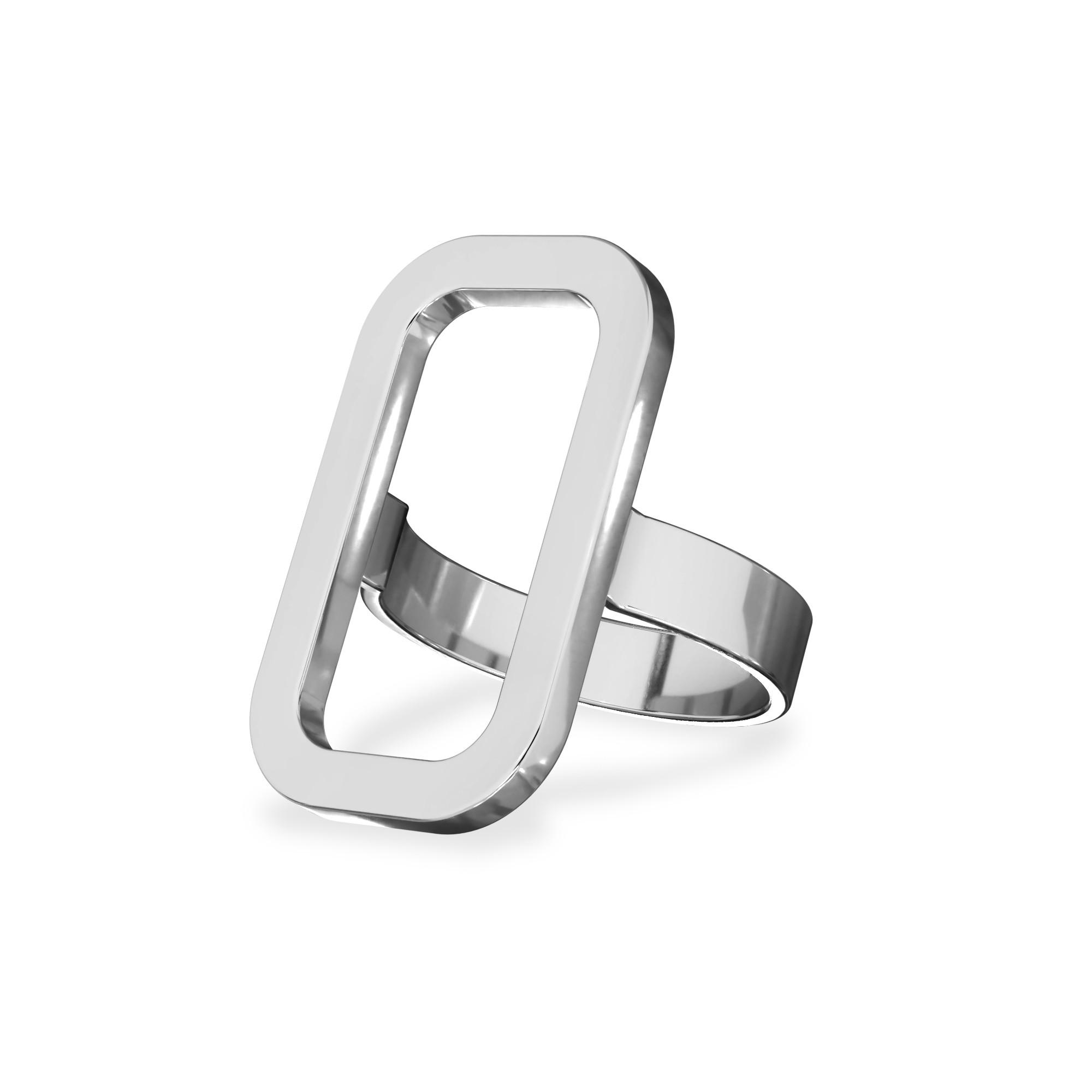 Pierścionek figura geometryczna prostokąt, srebro 925