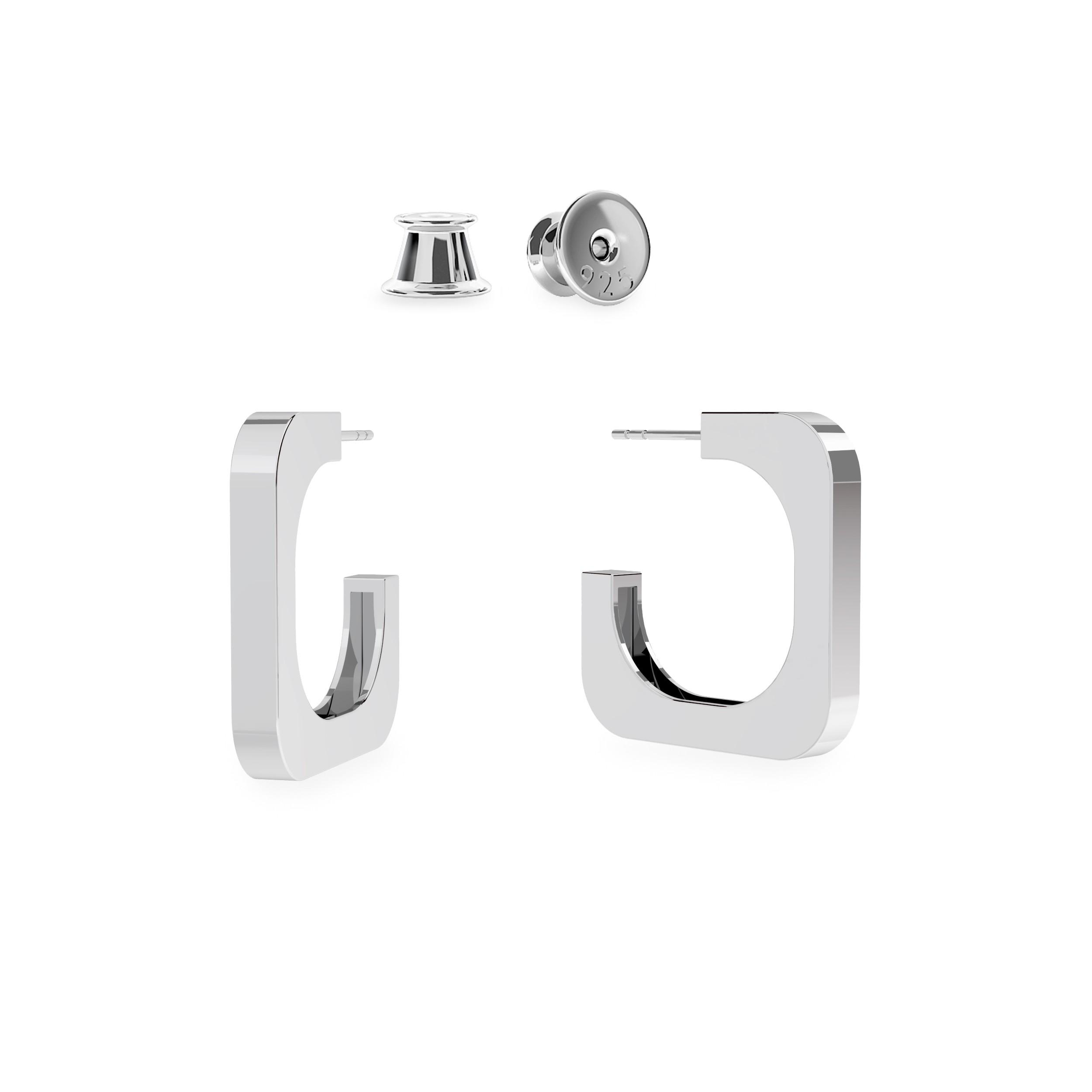 Kolczyki geometryczne kwadraty , srebro 925