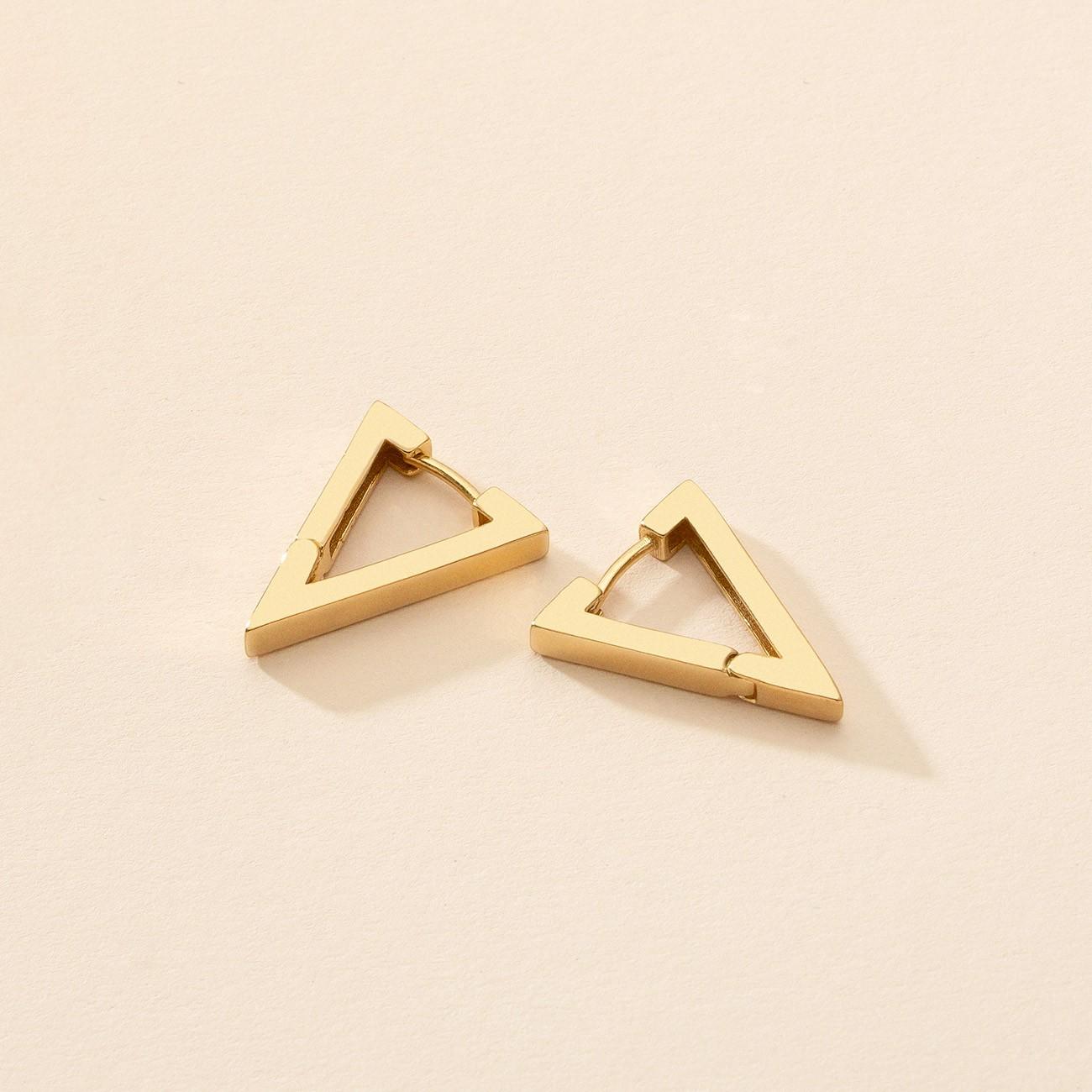 Kolczyki geometryczne trójkąty - średnie, srebro 925