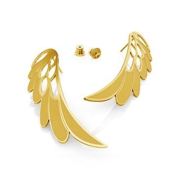BIG ANGEL WINGS MATT EARRINGS, STERLING SILVER (925) RHODIUM OR GOLD PLATED
