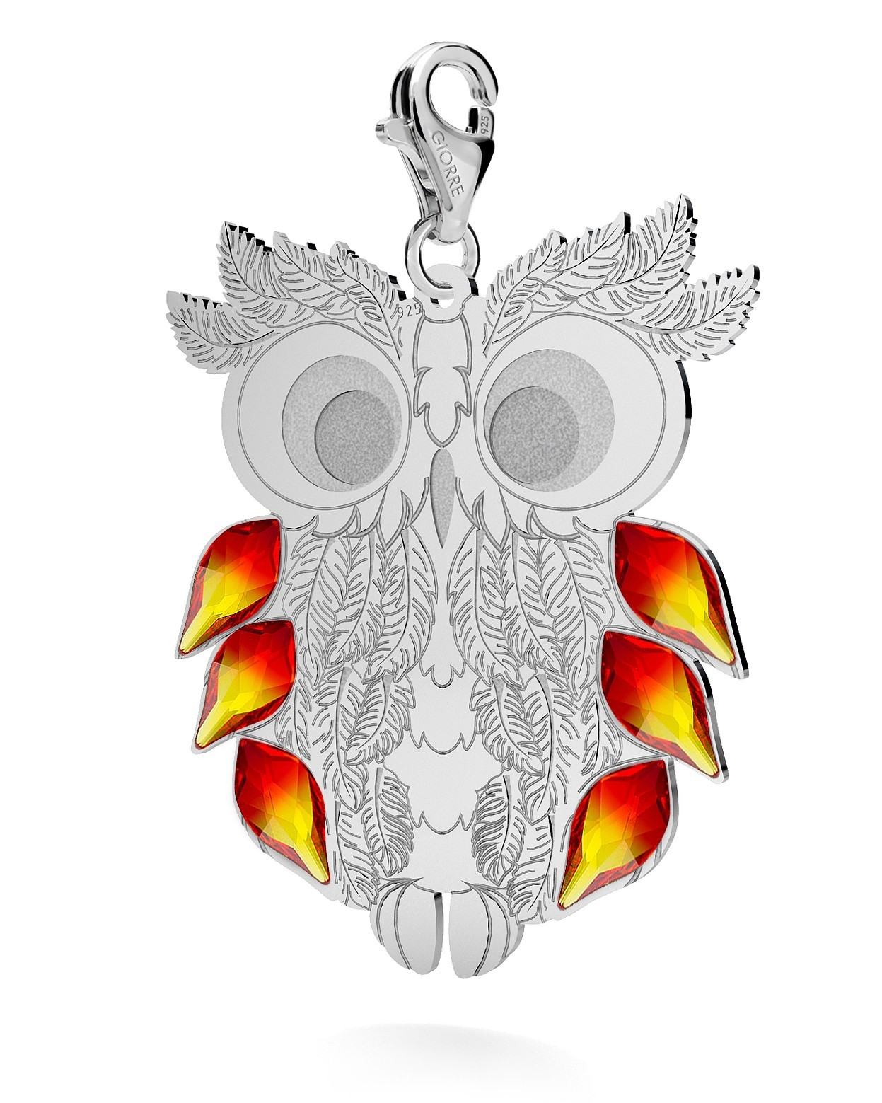 CHARM 143, OWL, SWAROVSKI 2205 MM 7,5, STERLING SILVER (925) RHODIUM OR GOLD PLATE