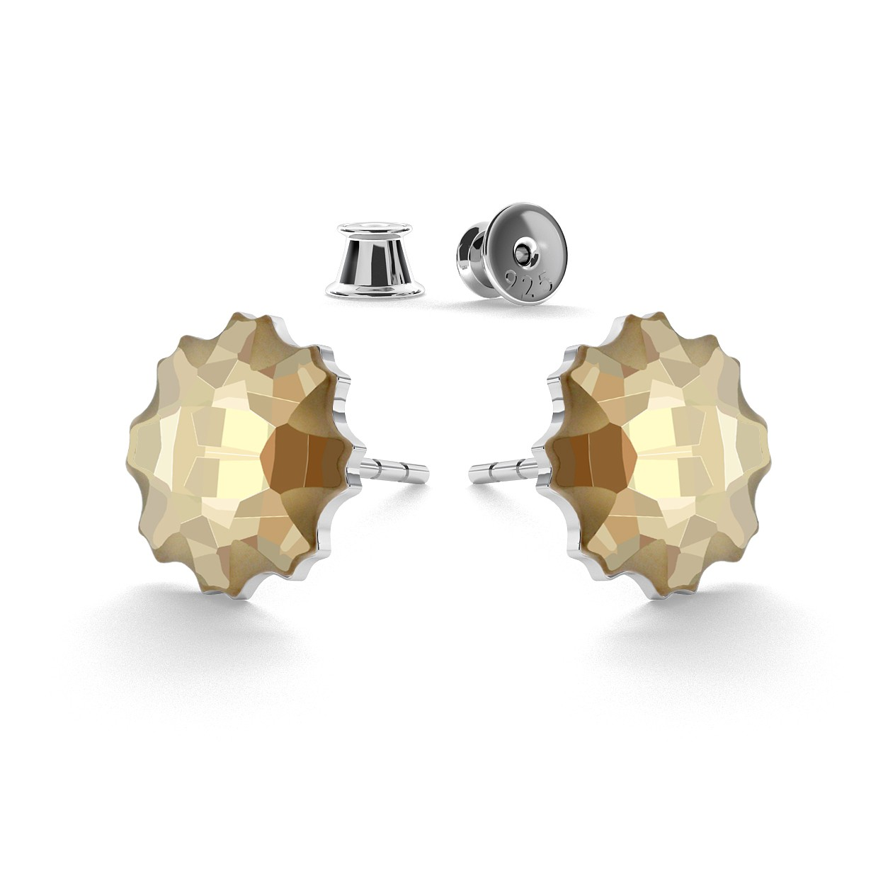 JELLYFISH EARRINGS, SWAROVSKI 2612 MM 10, STERLING SILVER (925) RHODIUM OR GOLD PLATED