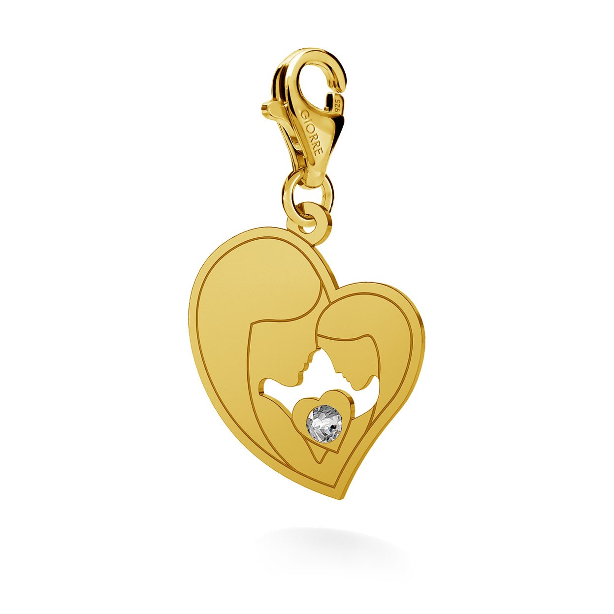 CHARM 91, MOTHER AND DOUGHTER, SWAROVSKI 2038 SS 6, STERLING SILVER (925) RHODIUM OR GOLD PLATED