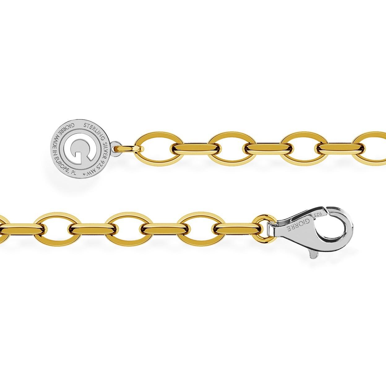 STERLING SILVER BRACELET 16-24 CM YELLOW GOLD, LIGHT RHODIUM CLASP, LINK 7X5 MM