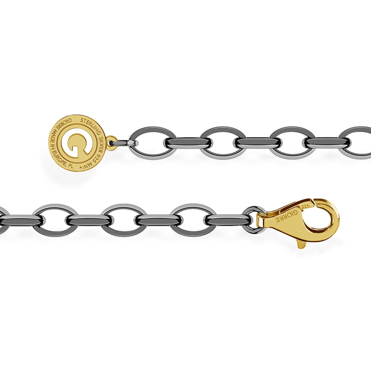 STERLING SILVER BRACELET 16-24 CM BLACK RHODIUM, YELLOW GOLD CLASP, LINK 7X5 MM