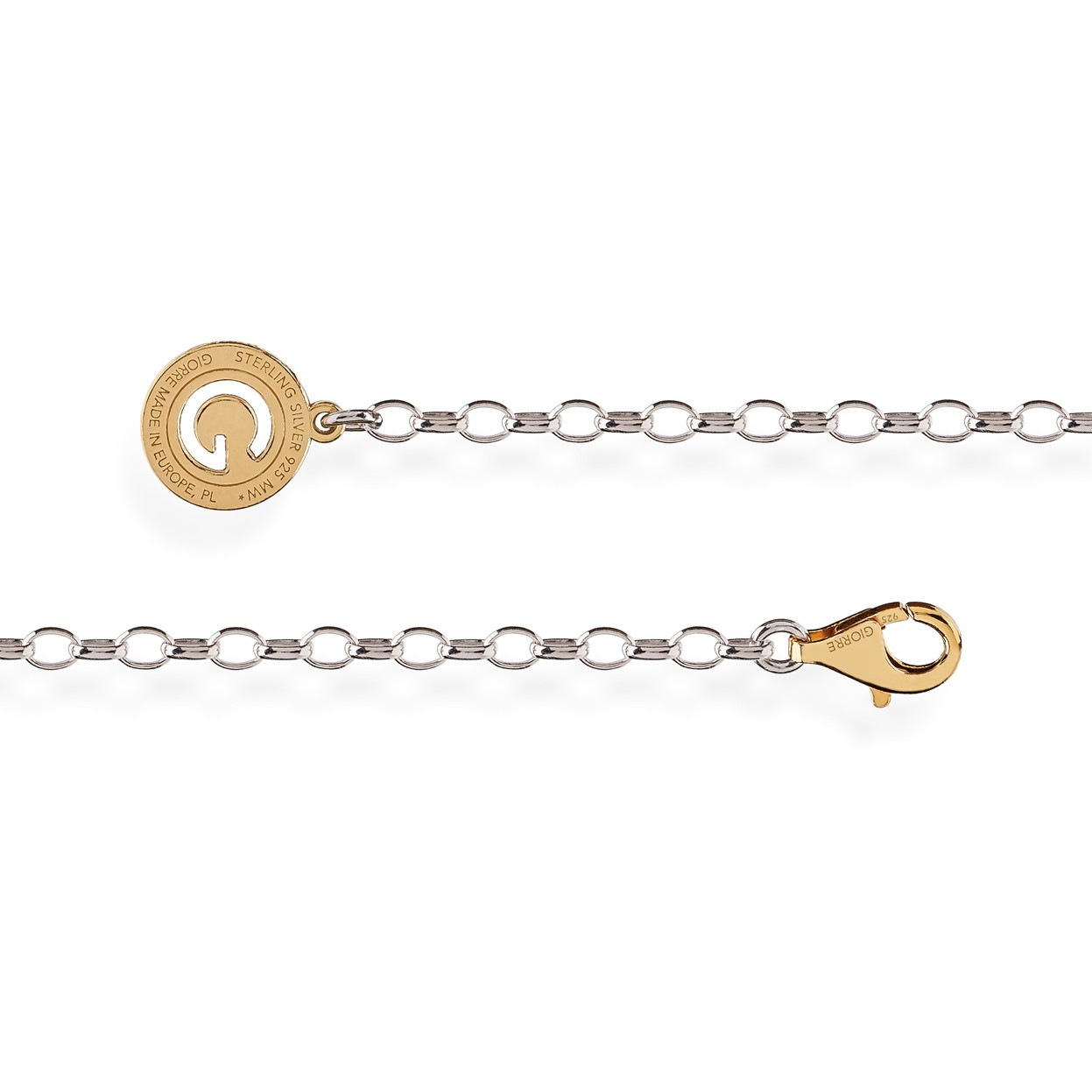 Sterling silver necklace 55-65 cm, yellow gold clasp, link 4x9 mm