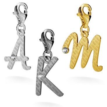 Srebrny charms dowolna litera z kryształem 925