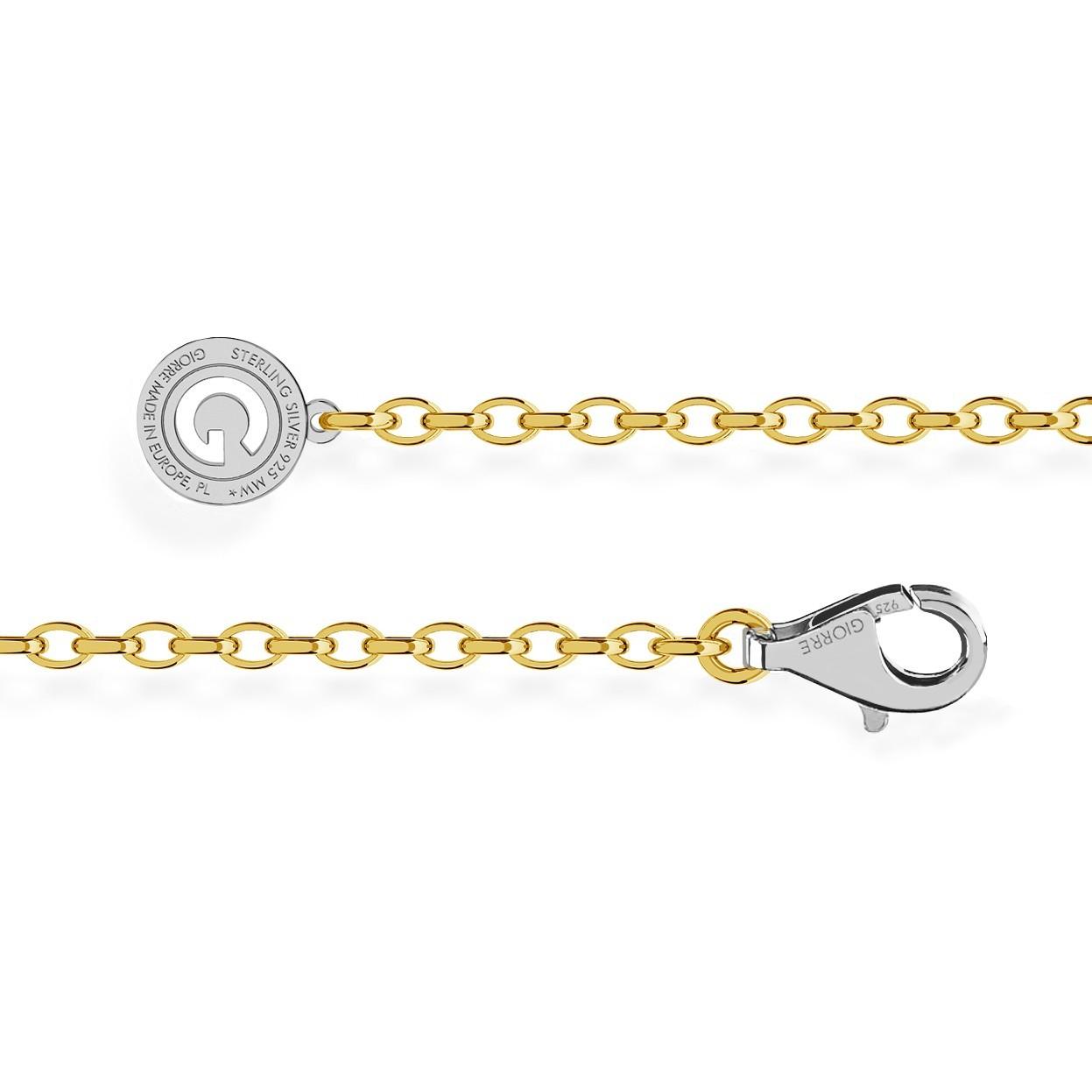 Bracelet en argent 16-24 cm or jaune, fermoir rhodium claire, lien 4x3 mm
