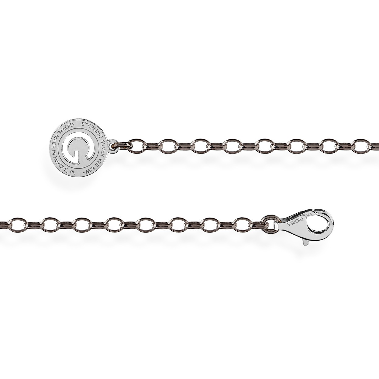 STERLING SILVER NECKLACE 55-65 CM BLACK RHODIUM, LIGHT RHODIUM CLASP, LINK 4X3 MM