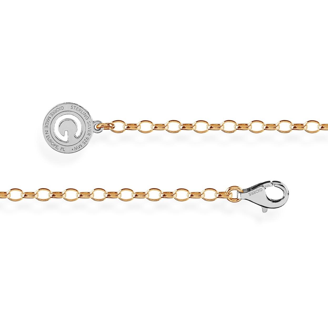 Złocony łańcuszek ogniwkowy, srebro 925