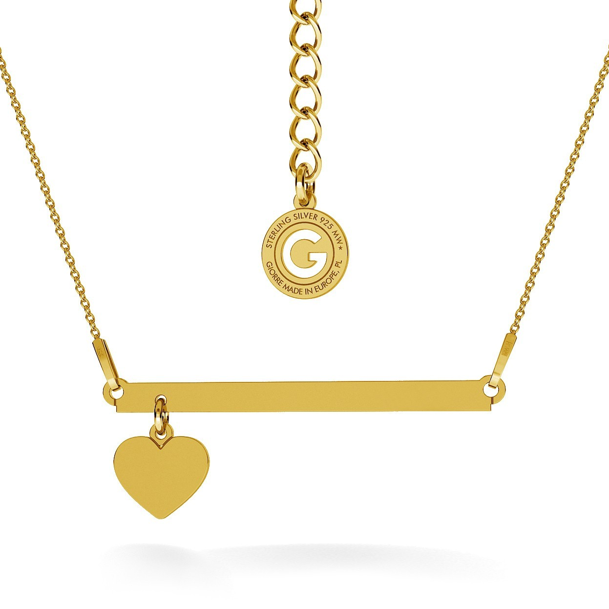 NECKLACE WITH HEART & RECTANGLE BAR, YOUR ENGRAVE, RHODIUM OR 24K / 18K GOLD PLATED