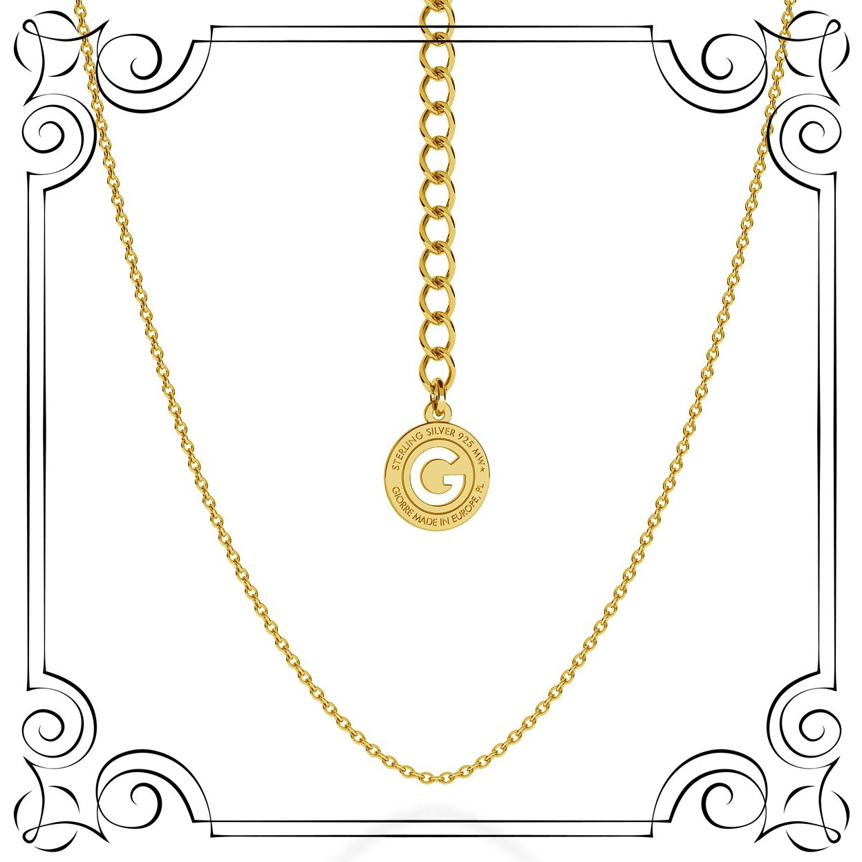 LIGHT SILVER NECKLACE 55 CM, GOLD PLATED (YELLOW GOLD)