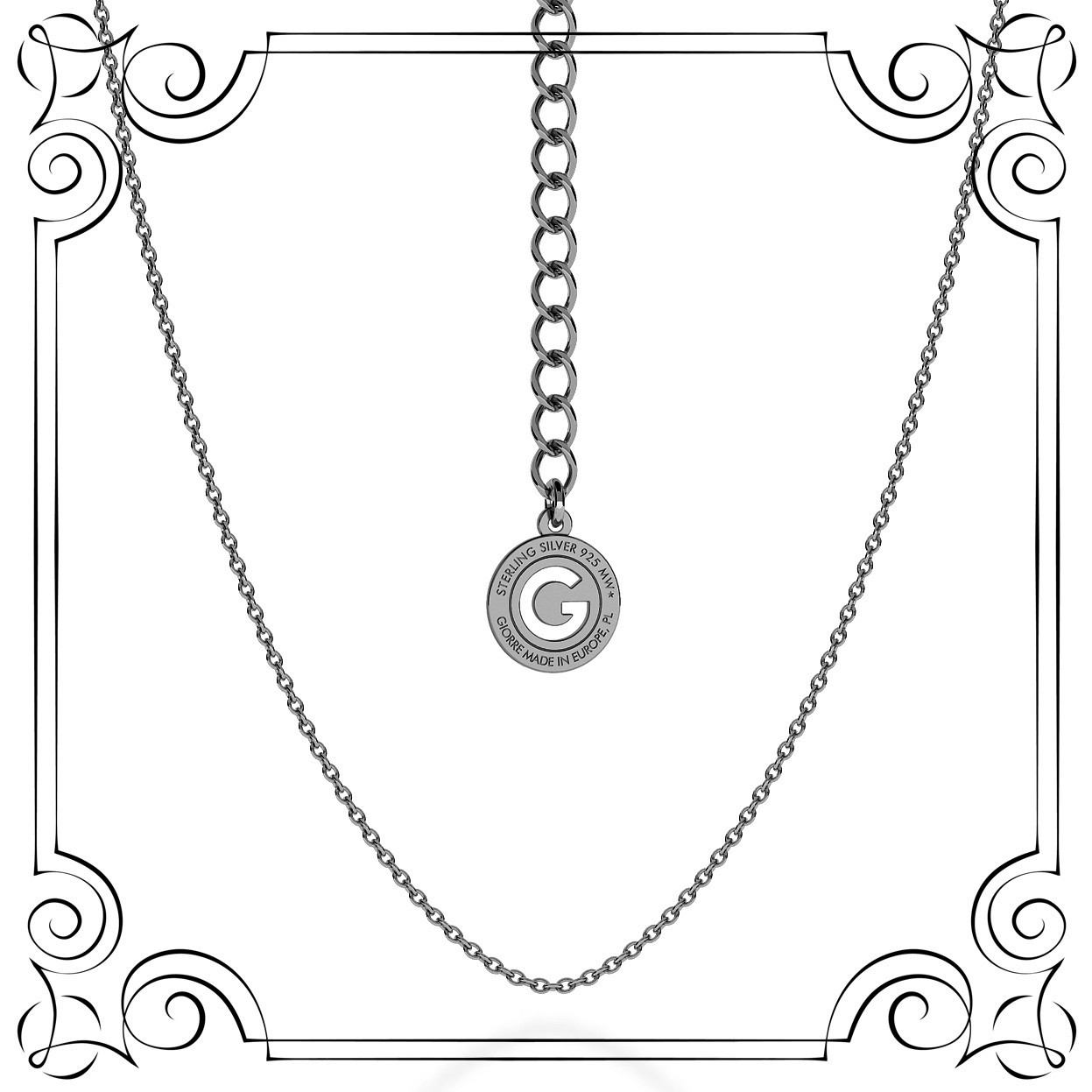 LIGHT SILVER NECKLACE 55 CM, RHODIUM PLATED (BLACK RHODIUM)