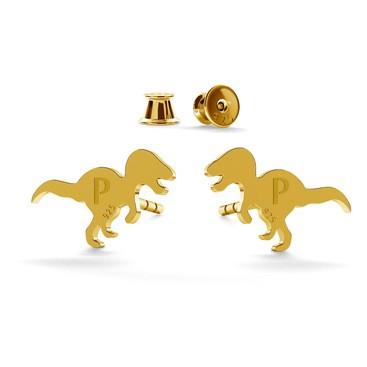 Srebrne kolczyki dinozaur grawer 925