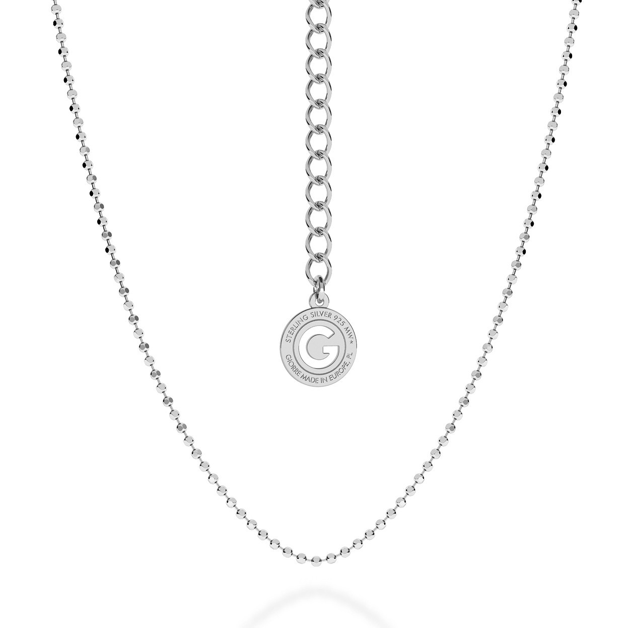 SILVER NECKLACE WITH BALLS 55 CM, RHODIUM PLATED