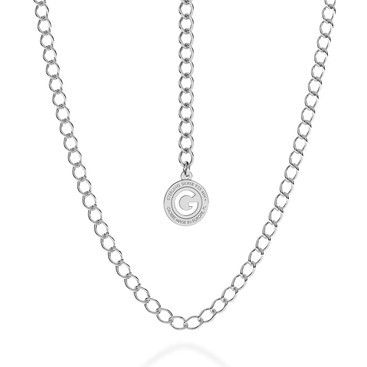 SILVER NECKLACE ROMBO 55-65 CM, RHODIUM PLATED