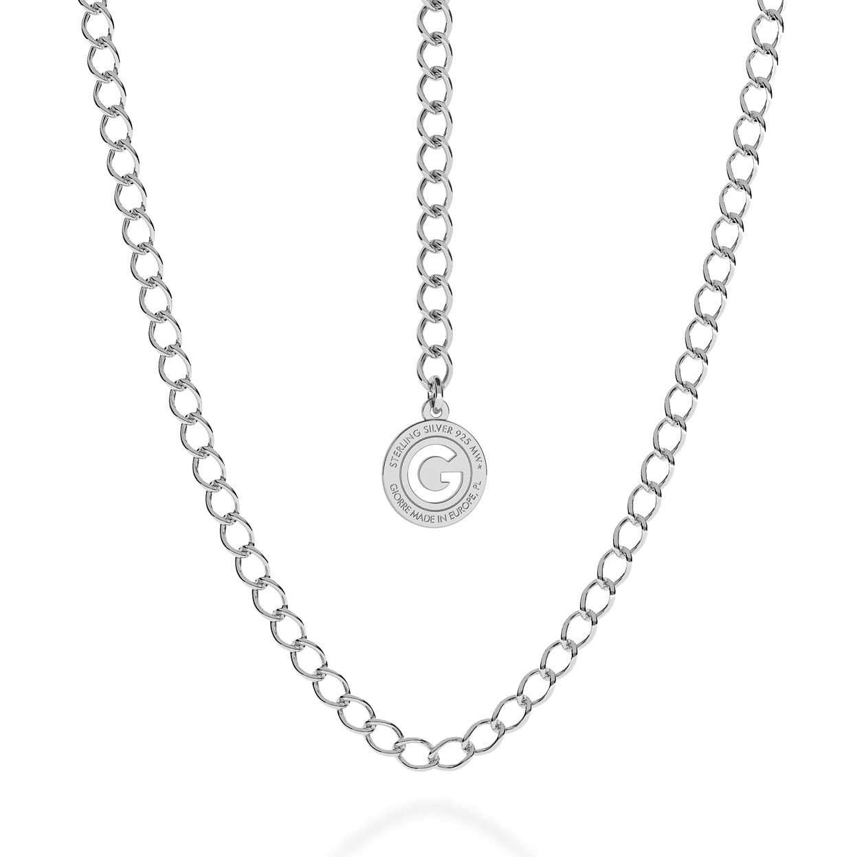 SILVER NECKLACE ROMBO 55 CM, RHODIUM PLATED