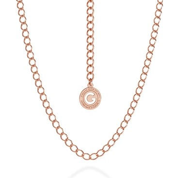 SILVER NECKLACE ROMBO 55 CM, GOLD PLATED (PINK GOLD)
