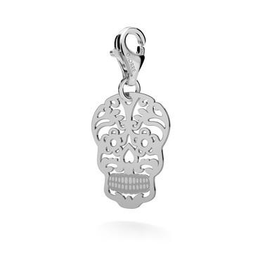 Srebrny charms beads zawieszka cukrowa czaszka 925