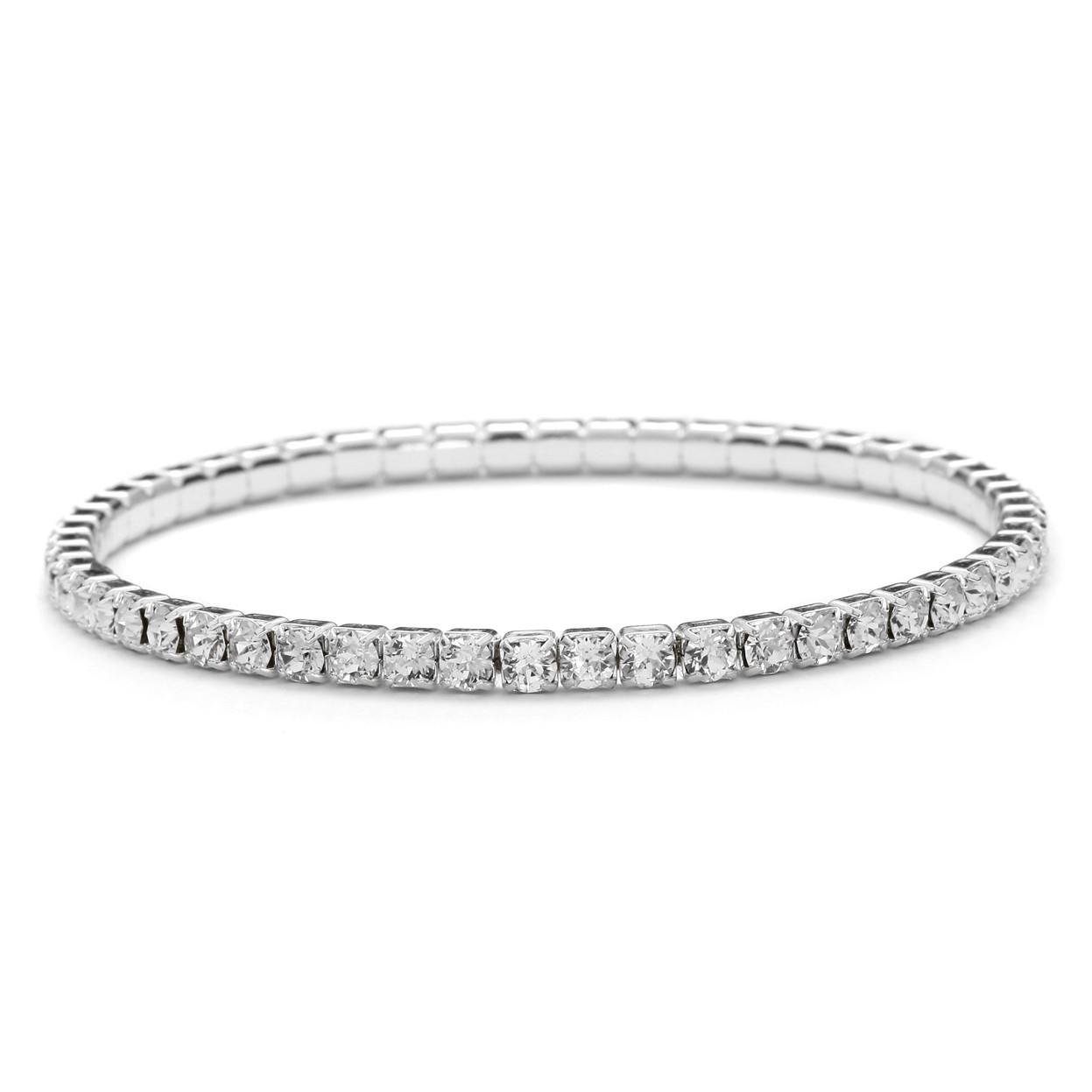 Wsuwana elastyczna bransoletka z kryształami Swarovski