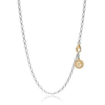 Silberne halskette 55-65 cm, verschluss goldgelb, kettenglieder 4x3 mm