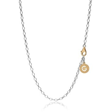 Sterling silver necklace 55-65 cm light rhodium, yellow gold clasp, link 4x9 mm