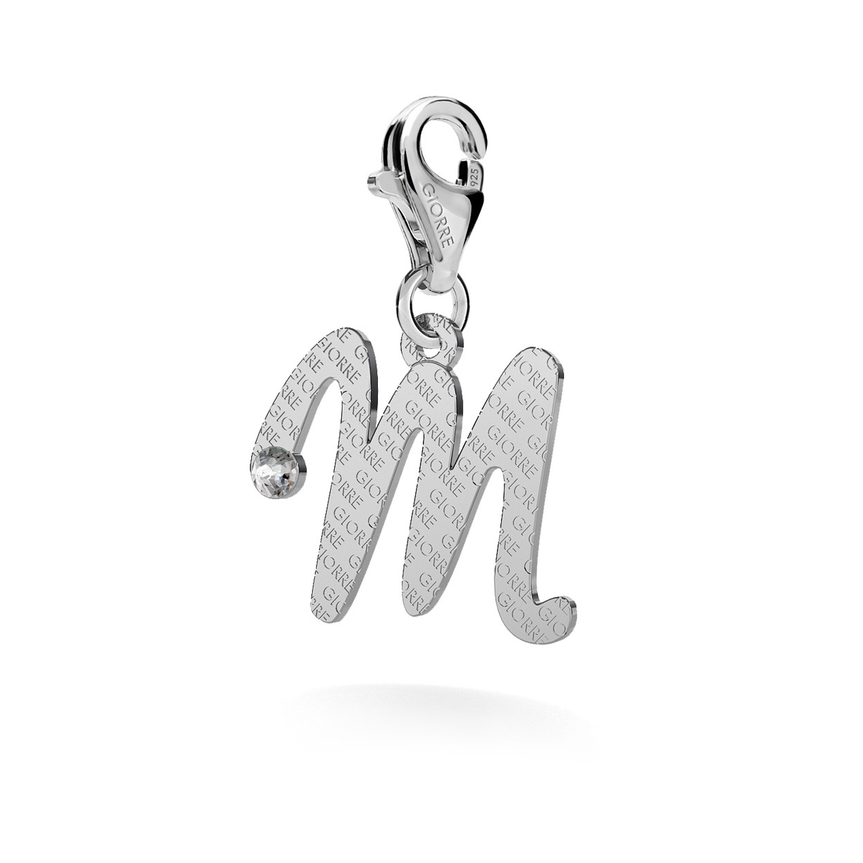CHARM 28, LETTERS A - V, SILVER 925, RHODIUM OR GOLD PLATED