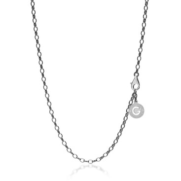 Collier en argent 55-65 cm rhodium noir, fermoir or jaune, lien 4x3 mm