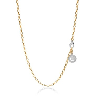Collier argent 55-65 cm or jaune, fermoir rhodium claire, lien 4x3 mm