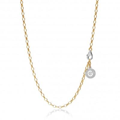Silberne halskette 55-65 cm, goldgelb, verschluss helles rhodium, kettenglieder 4x3 mm