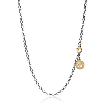 STERLING SILVER NECKLACE 55-65 CM BLACK RHODIUM, YELLOW GOLD CLASP, LINK 4X3 MM