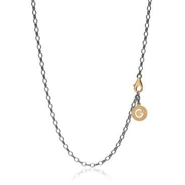 Silberne halskette 55-65 cm, schwarzes rhodium, verschluss goldgelb, kettenglieder 4x3 mm
