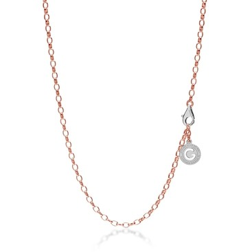 Collier argent 55-65 cm or rose, fermoir rhodium claire, lien 4x3 mm