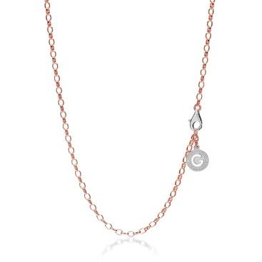 Silberne halskette 55-65 cm, rosagold, verschluss helles rhodium, kettenglieder 4x3 mm