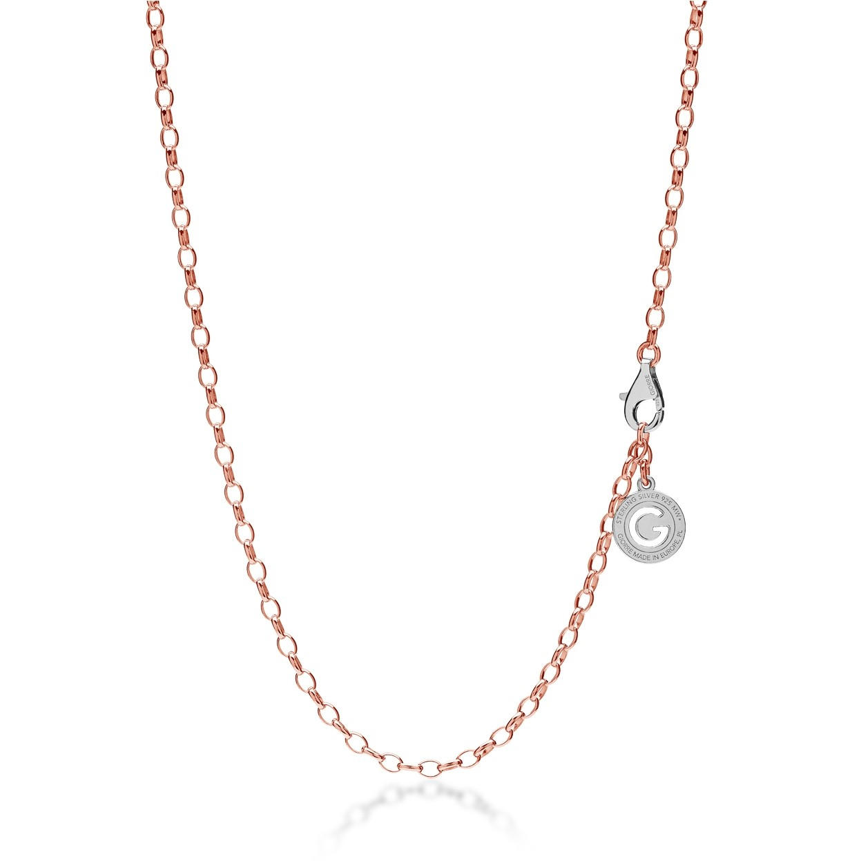 Sterling silver necklace 55-65 cm pink gold, light rhodium clasp, link 4x3 mm