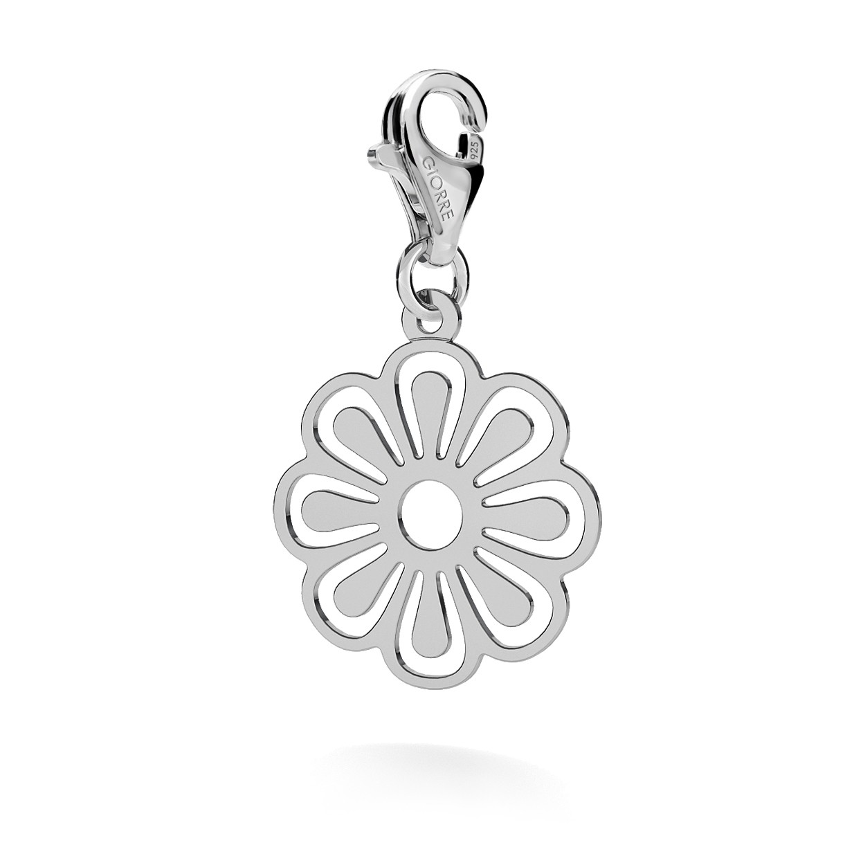 CHARM 56, OPENWORK FLOWER, SILVER 925,  RHODIUM OR GOLD PLATED