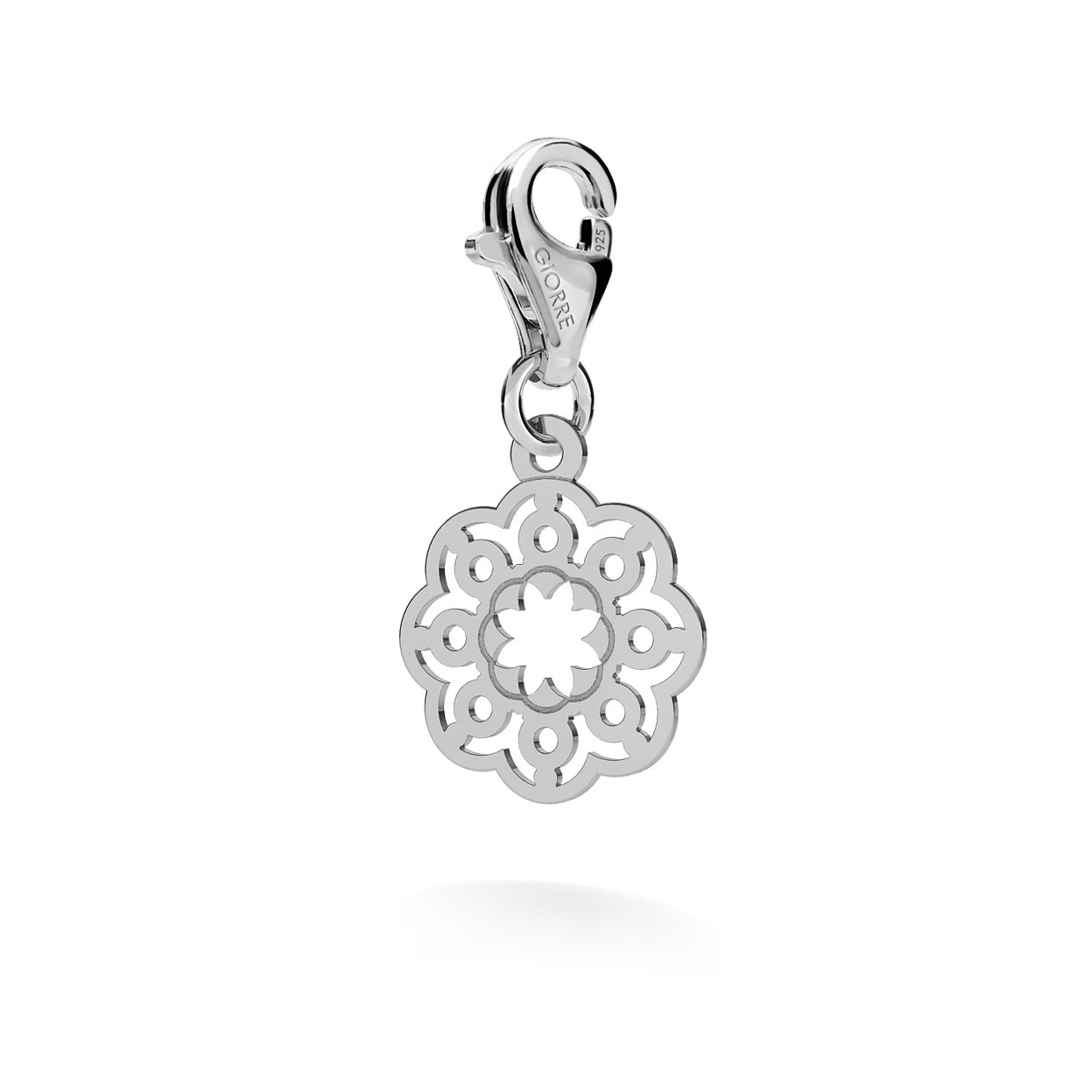 CHARM 58, SMALL OPENWORK, SILVER 925, RHODIUM OR GOLD PLATED