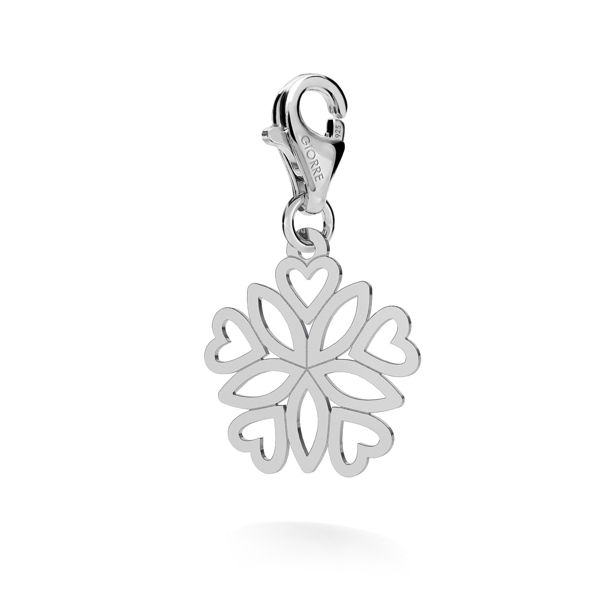 CHARM 61, ROSETTE HEARTS, SILVER 925, RHODIUM OR GOLD PLATED