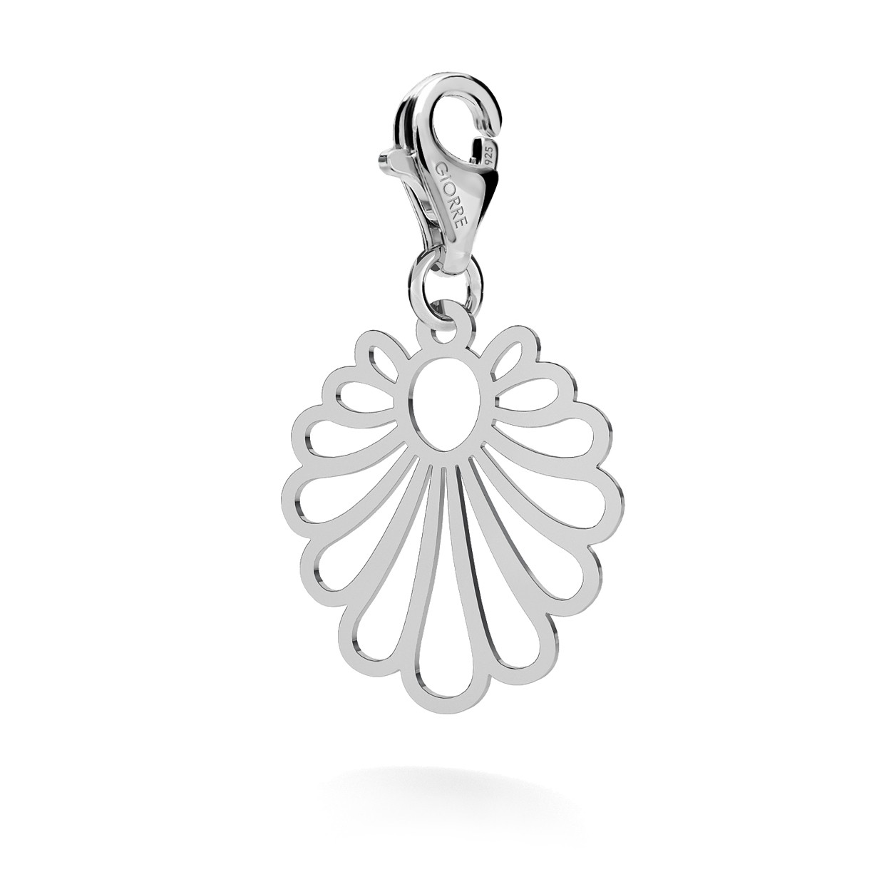 CHARM 62, ROSSETE DROP, SILVER 925,  RHODIUM OR GOLD PLATED