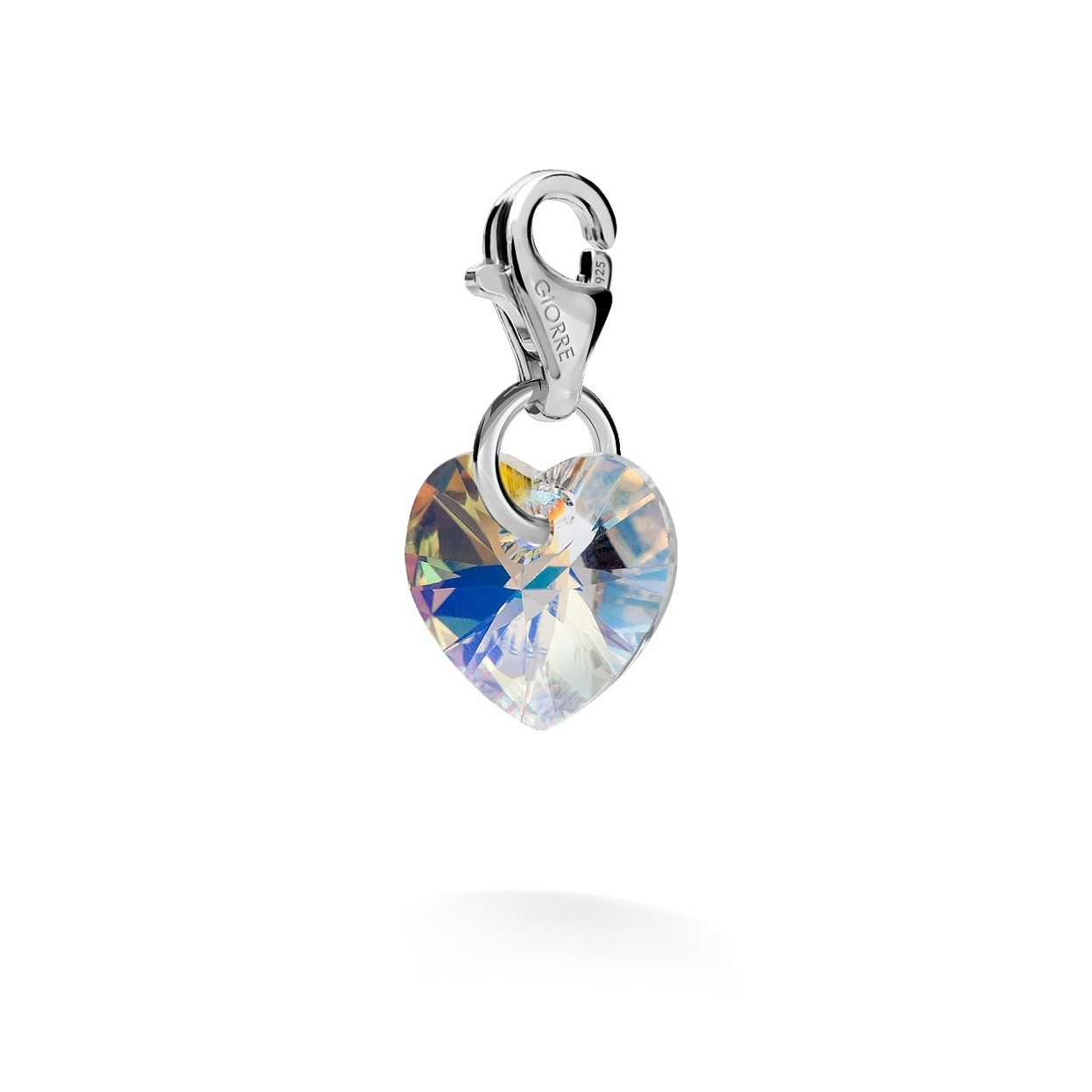CHARM 47, SWAROVSKI 6228 MM 10 CRYSTAL, STERLING SILVER (925) RHODIUM OR GOLD PLATED