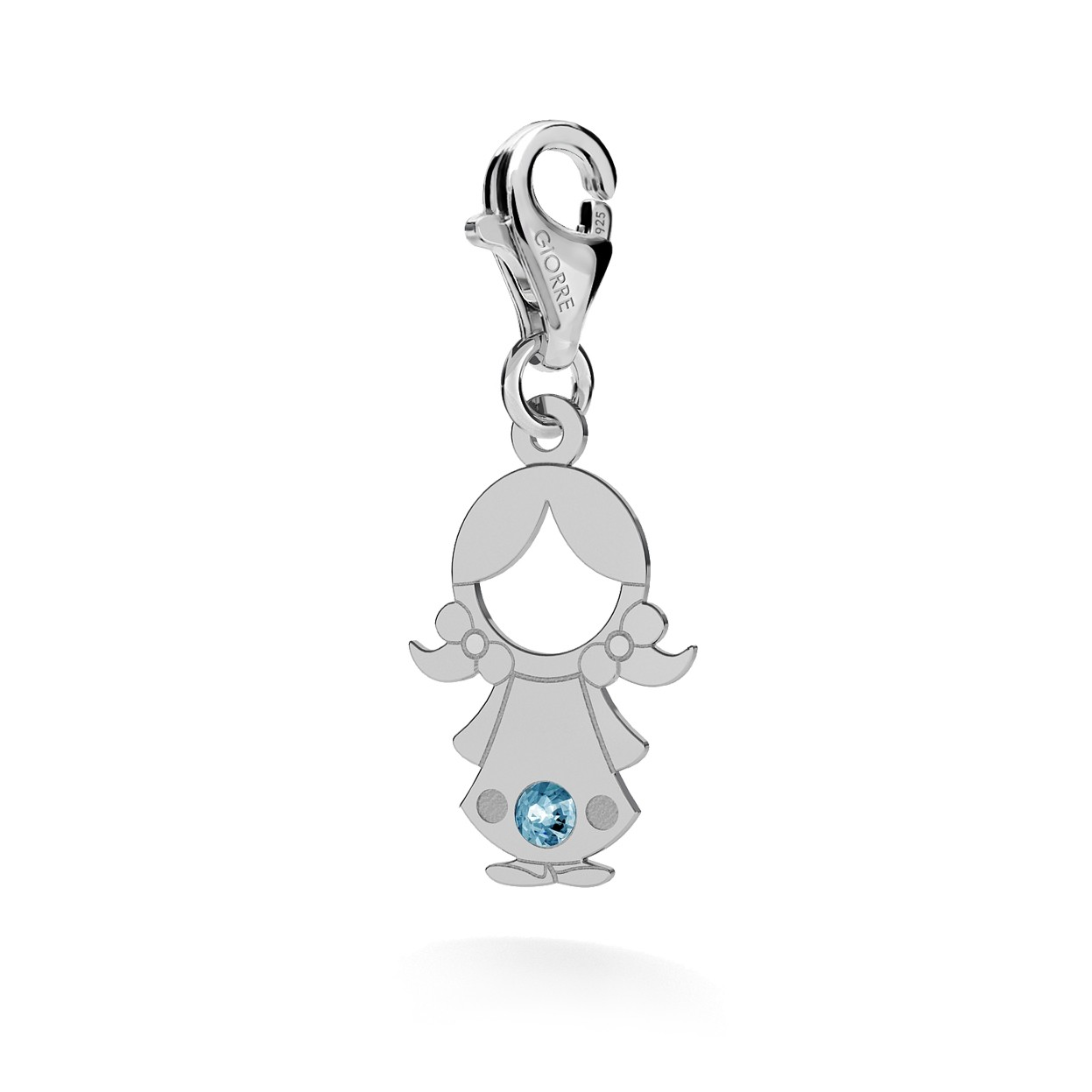 CHARM 65, GIRL, SWAROVSKI 2038 SS 6 HF CRYSTAL, SILVER 925, RHODIUM OR GOLD PLATED