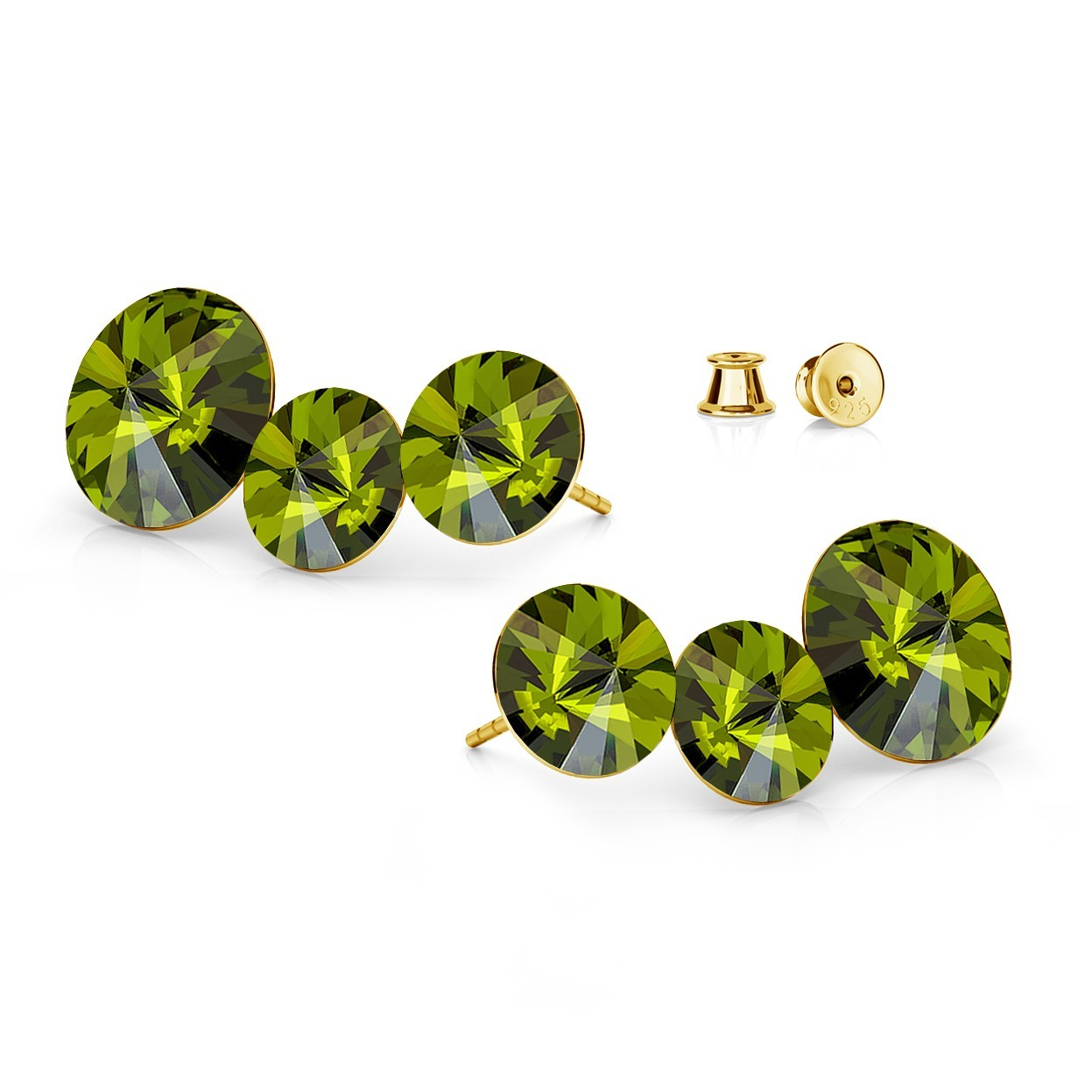 TRIPLE RIVOLI POST EARRINGS, SWAROVSKI