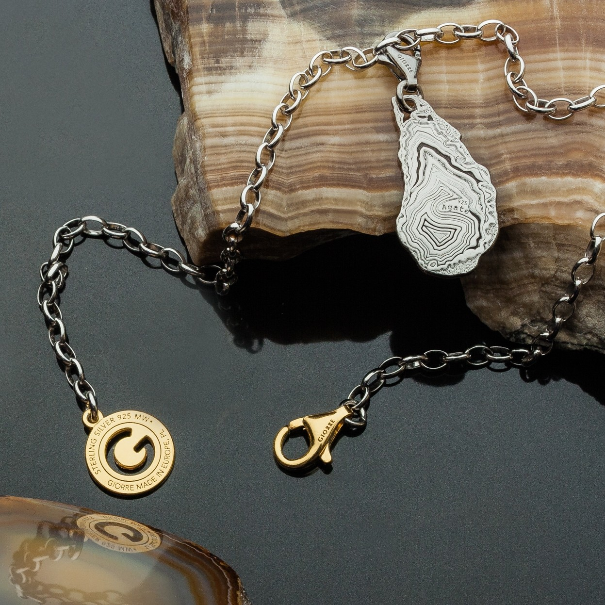 CHARM 6, AGATE, STERLING SILVER RHODIUM OR 24K GOLD PLATED