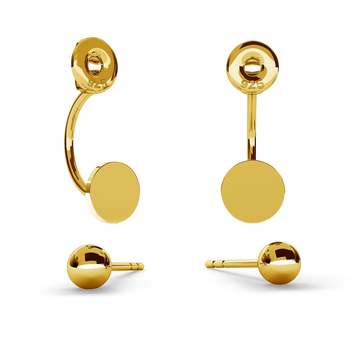 SWING EARRINGS BALL & CIRCLE WITH ENGRAVE