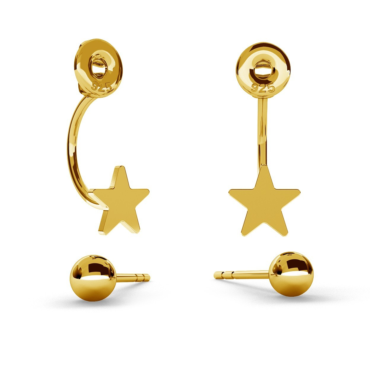 SWING EARRINGS BALL & STAR WITH ENGRAVE