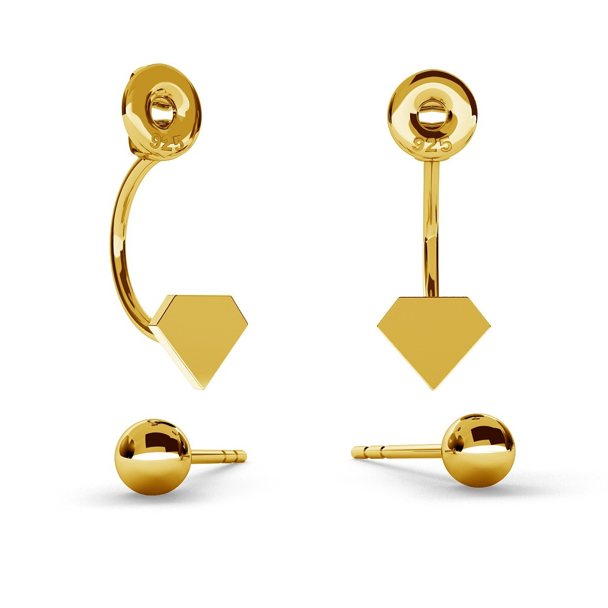 SWING EARRINGS BALL & DIAMOND WITH ENGRAVE