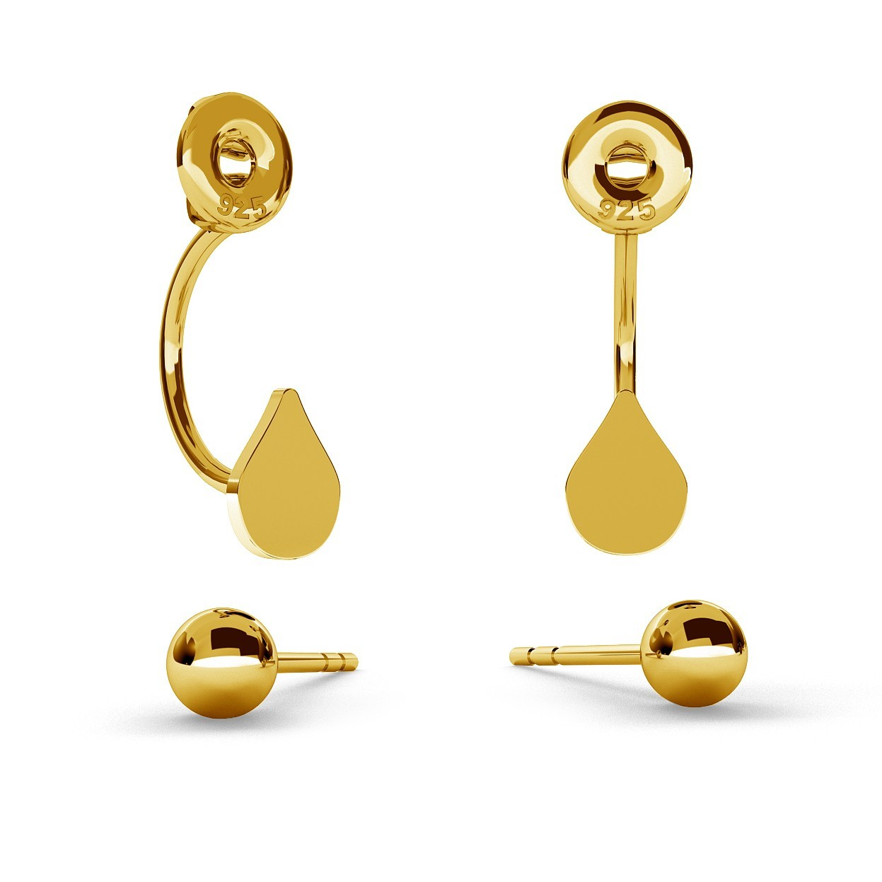 SWING EARRINGS BALL & TEAR WITH ENGRAVE