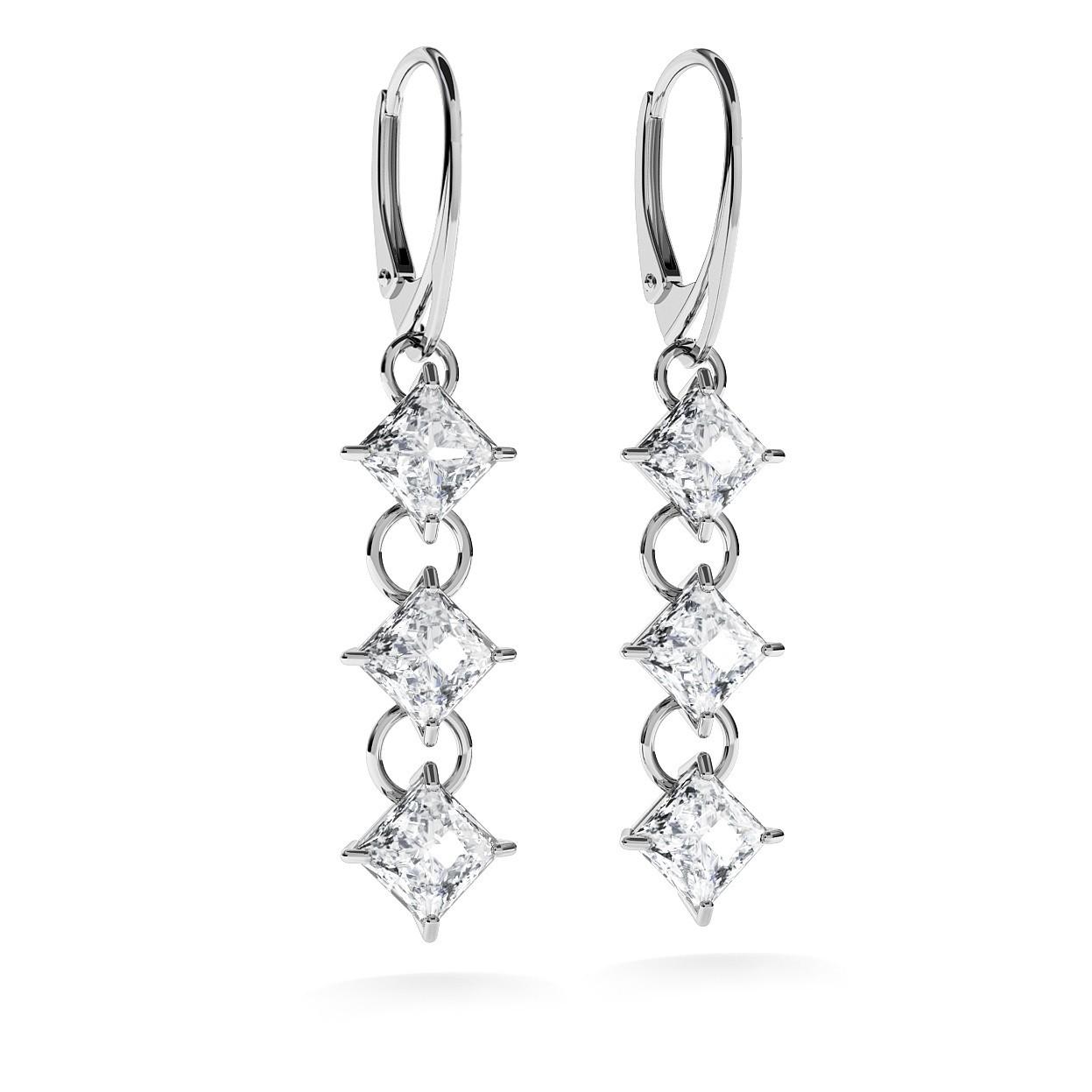 Boucles d'oreilles avec zircons 6x6 mm, bijoux de mariage, modèle 1